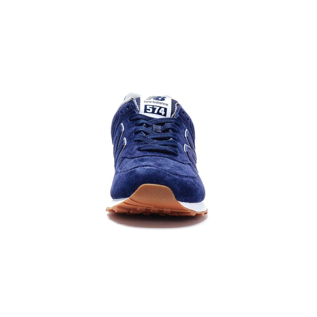 NEW BALANCE 574 LIFESTYLE PIGSKIN SUEDE SNEAKERS Man Pigment blue ...