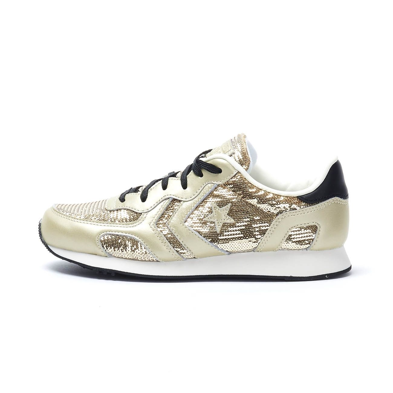 CONVERSE AUCKLAND RACER OX SEQUINS SNEAKERS Woman Light gold White ...