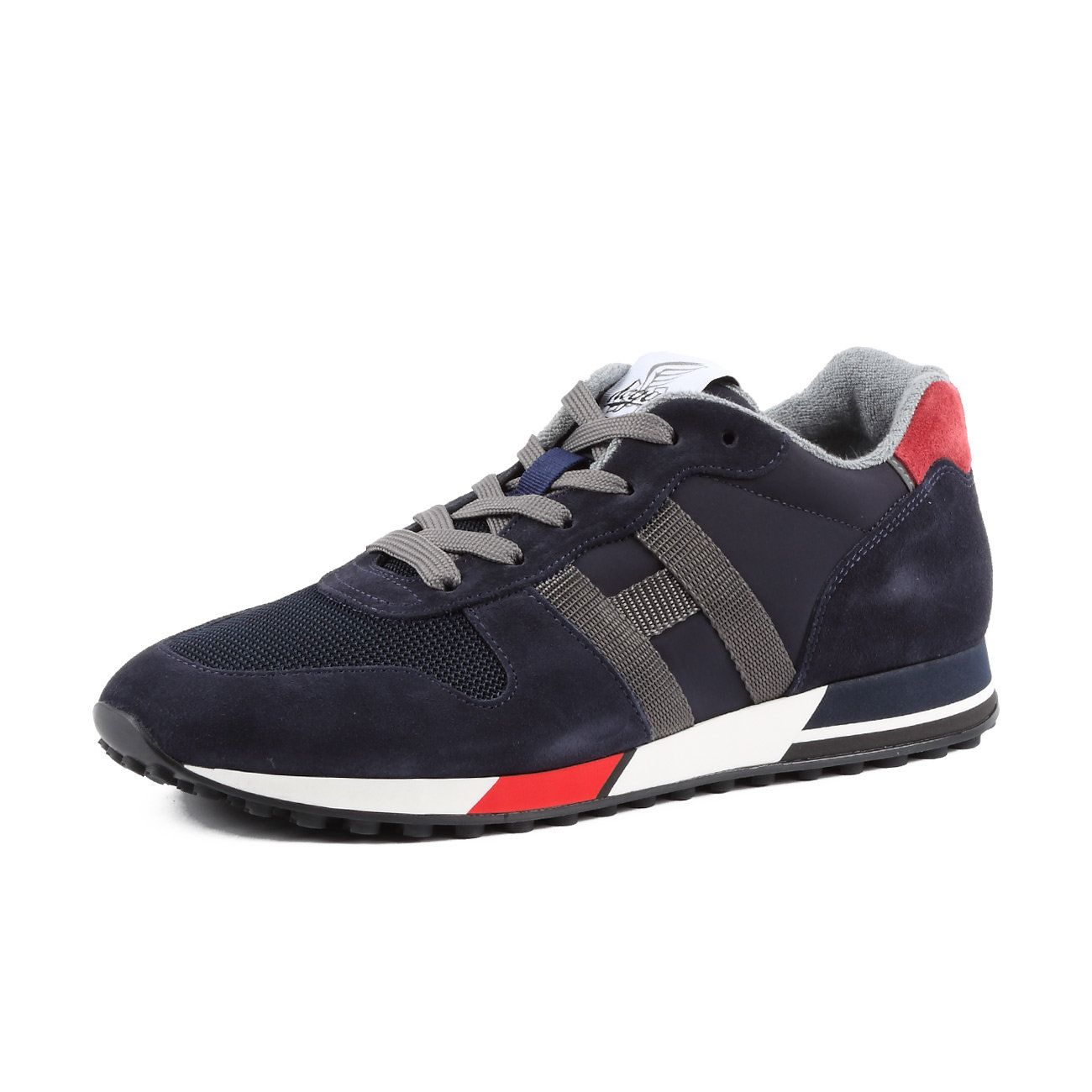 HOGAN H383 SNEAKERS IN NYLON E SUEDE Man Blue White Red ...