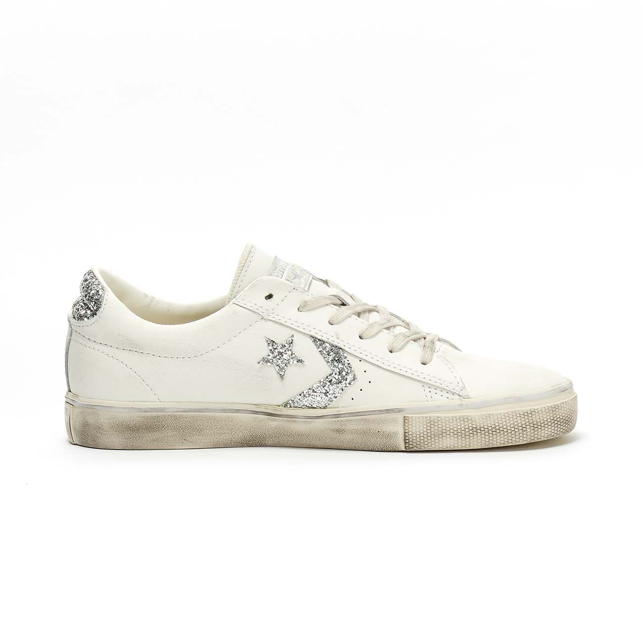 CONVERSE SNEAKERS PRO LEATHER VULC DISTRESSED OX Women White ...